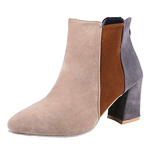 Holywin Womens Pointed Toe Suede High Heel Shoes Mixed Color Martin Boots Zipper Boot Beige