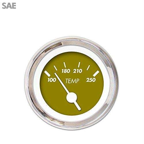 White Vintage Needles, Chrome Trim Rings, Style Kit Installed Aurora Instruments 1214 Marker Green SAE Water Temperature Gauge