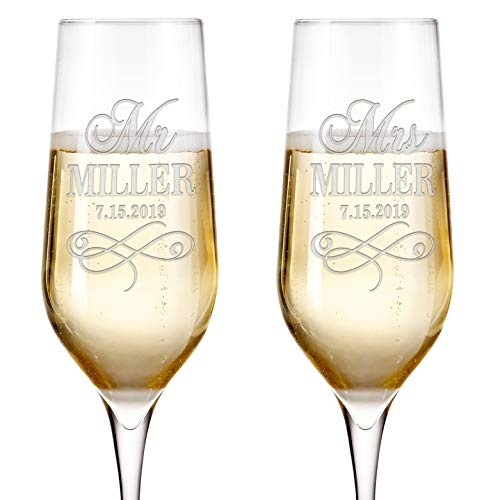 Set of 2 Personalized Wedding Champagne Flutes Engraved Glass Bride and Groom Gift Wedding Favors - Design 3 ()