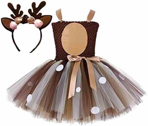 73db791f3abe Colorfog Girls Kids Princess Christmas Deer Costume Dress Halloween Party  Cosplay Fancy Dress