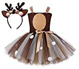Colorfog Girls Kids Princess Christmas Deer Costume Dress Halloween Party Cosplay Fancy Dress