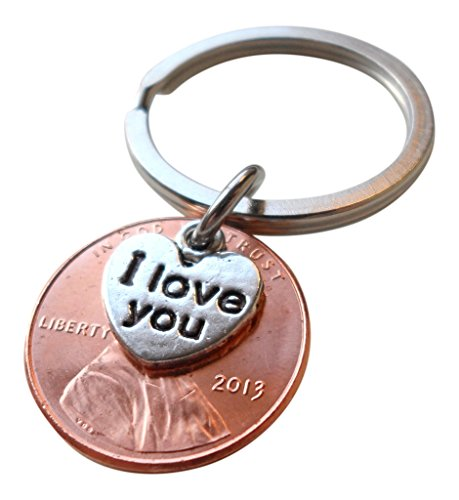 I Love You Heart Charm Layered Over 2013 US One Cent Penny Keychain, 5 Year Anniversary Gift, Birthday Gift, Couples Keychain