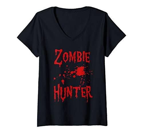 Womens Zombie Hunter - Blood Splatter Lazy Halloween