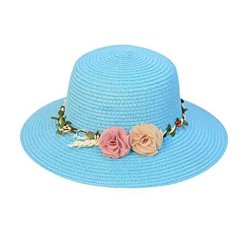 Kelly Bro Women Wide Brim Summer Straw Hat Packable Roll up Flower Beach Sun Foldable Cap UPF 50+ -