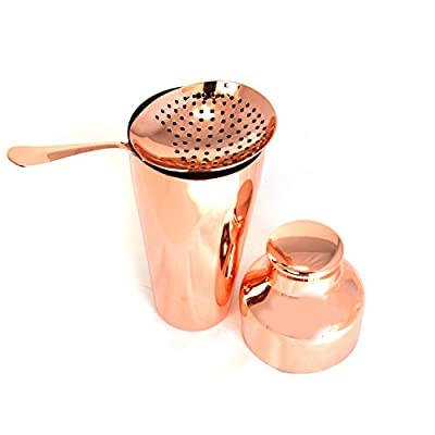 HAPPYNUTS Mixed Drinkware Sets & Barware Sets Sets Include Stainless Steel 18oz Cocktail Shaker Circle Cocktail Strainer, Copper