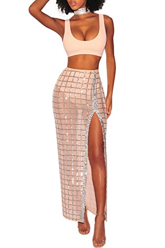 Set Bandage (Remelon Womens Sleeveless Crop Top Glitter Sequin Mesh Side Split Maxi Skirt Set Bandage 2 Piece Dress Outfits Apricot L)