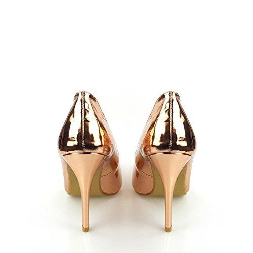 High Stiletto Heel Pointy Toe Court Shoe Rose Gold aMeTNGWzlU