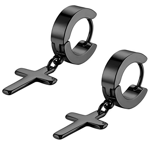 - Flongo Men's Womens Vintage Stainless Steel Black Cross Dangle Hinged Hoop Earrings, Stainless Steel Hoop Huggie Earrings Cross Drop Dangle Earrings