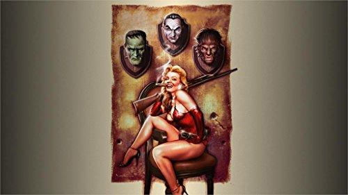 makeuseof girl Dracula Halloween gun werewolf sexy dangerous man hunter Home Decoration Canvas Poster]()