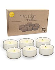 Soy Tealight Candles, Unscented and Handmade - White - Tea Lite Candle Set with Premium Soy Wax - Long Lasting, Clean Burn