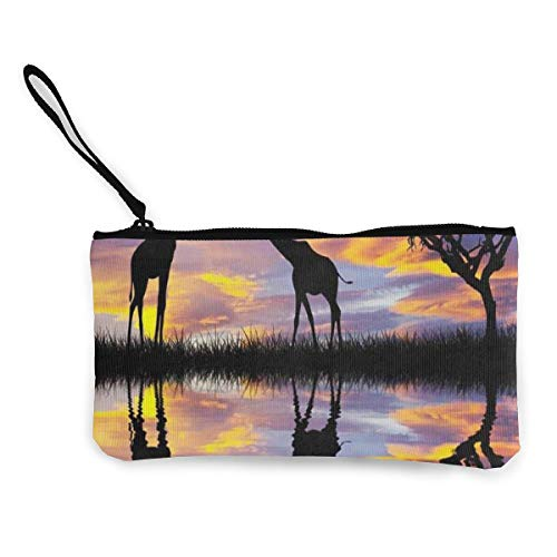 Coin Purse Giraffes in Africa Womens Zip Canvas Wallet, used for sale  Delivered anywhere in USA