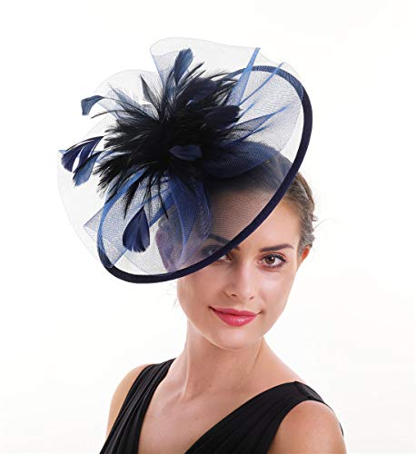 SAFERIN Fascinators Hat Sinamay Flower Mesh Feathers on a Headband and a Clip Tea Party Headwear for Girls and Women (a-Navy)