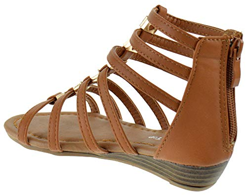 a905bcee9dc Lucky Top Avery 1K Little Girls Metal Bow Caged Peep Toe Gladiator Wedge  Sandals