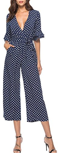 JINTING Deep V Neck Wide Leg Jumpsuit Women Loose Wide Leg Pants Jumpsuits Romper with Pockets and Belt Size M (Navy) (Jumpsuit Wrap)