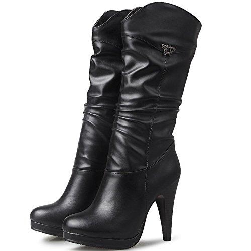 KingRover Casual de plisado Boots Mid Heel mujeres Negro Invierno High Calf las XO7OHTrn