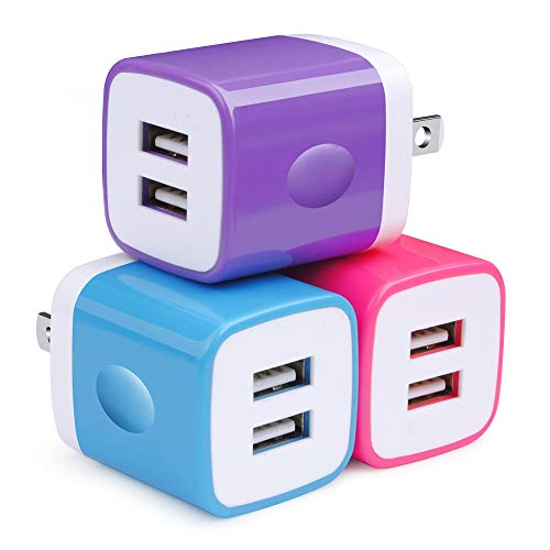 USB Wall Charger, Charger Adapter Charger Block, Double Wall Charger Plug 3-Pack 2.1Amp Dual Port Cube USB Power Adapter Compatible with iPhone 8/7/6 Plus/X, iPad, Samsung Galaxy S5 S6 S7 Edge, Kindle