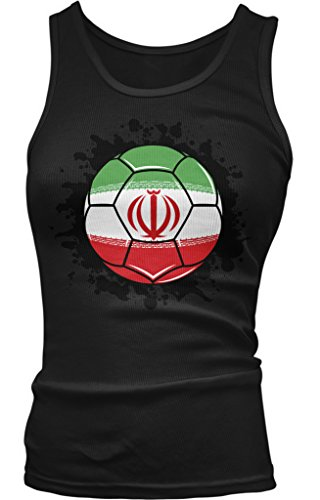 Iran Soccer Ball, Iranian Flag, Iran Pride Juniors Tank Top, Amdesco, Black Small (Pride Tank Top Juniors)