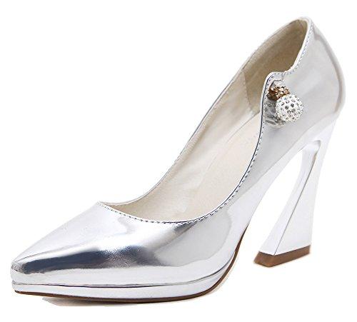 Pointed Chunky Toe Silver Pumps Easemax Rhinestones Shoes Top High Low Heel Womens Metallic Elegant zwwqxX1I4