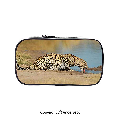 Pen Case Office College School Large Storage,Leopard Panther Drinking at Waterhole Safari Wild South African Animal Documentary Print Light Brown 5.1inches,Box Organizer New -