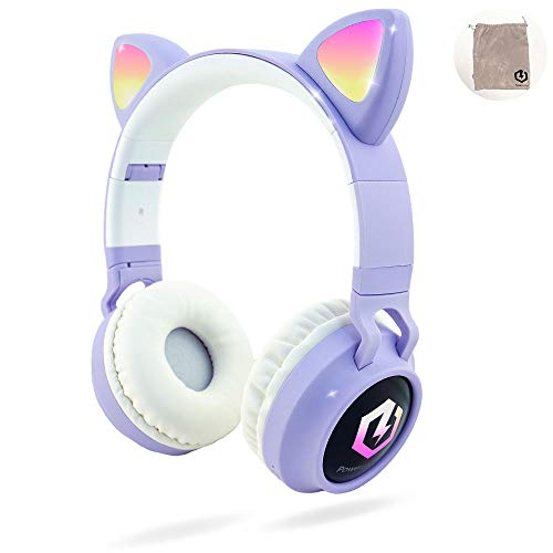 Headphones for Kids, PowerLocus Wireless Bluetooth Headphones Over-Ear with Cat Ears LED Lights, Foldable with…