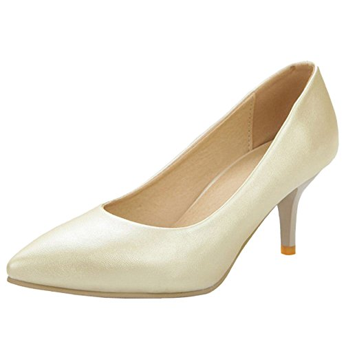 COOLCEPT Damen Fashion Slip-On Geschlossene Hochzeit Pumps Extra Sizes Ivory