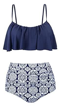 Angerella Vintage Cute Ruffles Strap Swimsuit Crop Top Flounce Bikini For Women