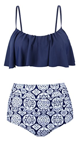 Angerella Swimsuits For Women Ruffled Top Swimwear High Waisted Bikini,Navy,US 4-6=Tag Size M