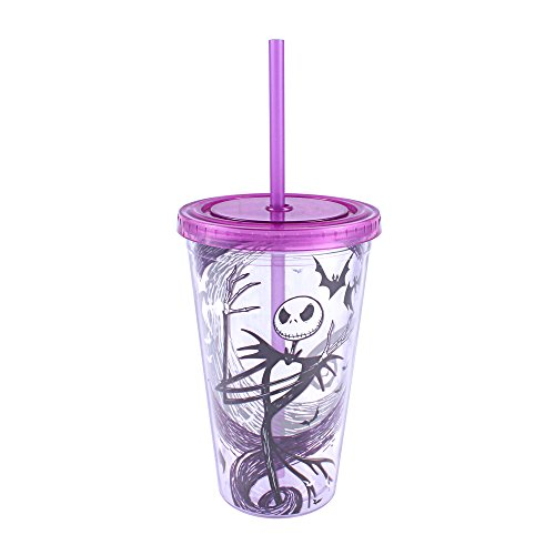 (Silver Buffalo NB17087Q Disney Nightmare Before Christmas Jack Skellington Plastic Cold Cup with Skull Shaped Ice Cubes, 16-Ounces)