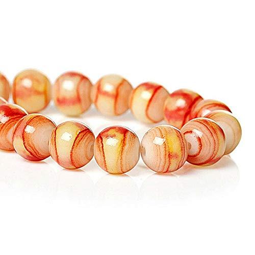 20 Glass Beads in Sun Kissed Orange Yellow 8mm for Pendant Bracelet DIY Jewelry Making