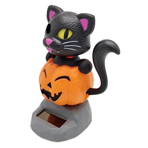 Flameer Solar Powered Bobbing Pumpkin Cat Figure Model - Fun Solar Science Toy Bobbleheads Home Desktop Car Halloween Decor