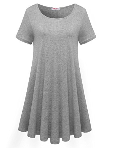 BELAROI Womens Comfy Swing Tunic Short Sleeve Solid T-Shirt Dress (1X, Light Gray)