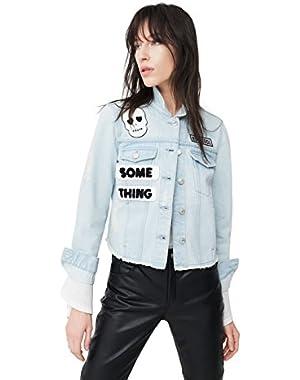 Mango Women's Patches Light Denim Jacket