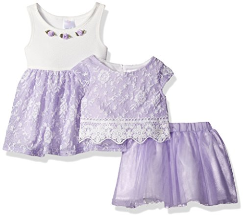 - Youngland Baby Girls' 3 Pc Set, Dress, Pop-Over Top, Tutu Skirt, Purple/White, 12M