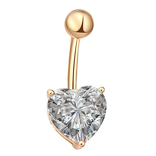 AENMIL Love Belly Ring Crystal Heart Navel Ring Body Piercing Jewelry Belly Dance Nightclubs Midriff(Real Gold White) (Midriff Dance)