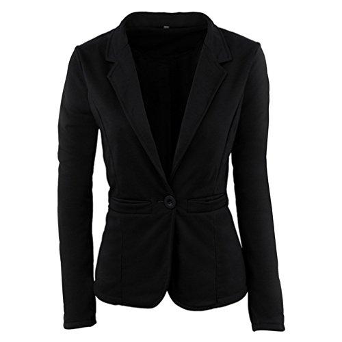 (UNKE Women's One-Button Suit Jacket Casual Coat Blazer Candy Color,Black,M)