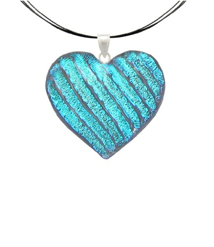 DreamGlass Sterling Silver and Dichroic Glass Light Blue Heart Pendant and Necklace - 18""