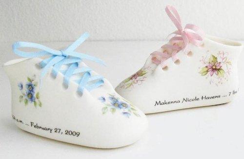Classic Bisque Porcelain Baby Keepsake Shoe Blue