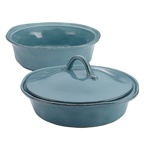 Rachael Ray Cucina Stoneware 3-Piece Round Casserole & Lid Set, Agave Blue (2)