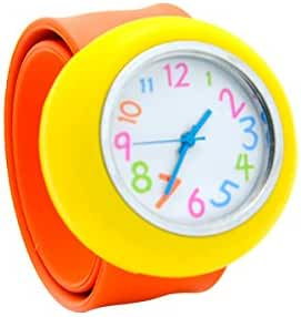 Unisex 3D Cartoon Orange Yellow Kids Watch Girls Boys Sports Watch Bendable Rubber Strap Wrist Watch