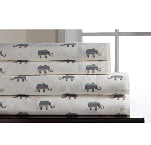 White Whimsical Flair Elephant Sheet King Set, Off White Color Allover Animal Pattern Jungle Zoo Kids Bedding For Bedroom, Modern Casual Teen Safari African Themed, Cotton (African Elephant Ivory)