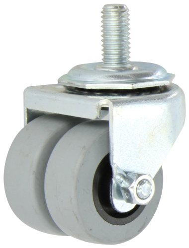Shepherd-00-Series-2-Diameter-TPR-Dual-Wheel-Swivel-Caster-12-Diameter-x-1-Length-UNC13-Threaded-Stem-180-lbs-Capacity-Zinc-Finish