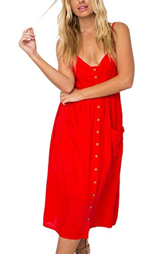 96841c89b2a7 Angashion Women's Dresses-Summer Floral Bohemian Spaghetti Strap Button  Down Swing Midi Dress. Home / CLOTHING. $ 19.99 ...