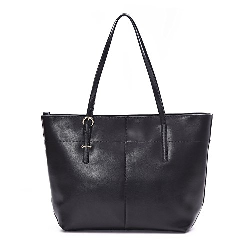 Leather Tote Shoulder Bag Soye Handbags for Women fit Laptop up to 15.6 Inches Black
