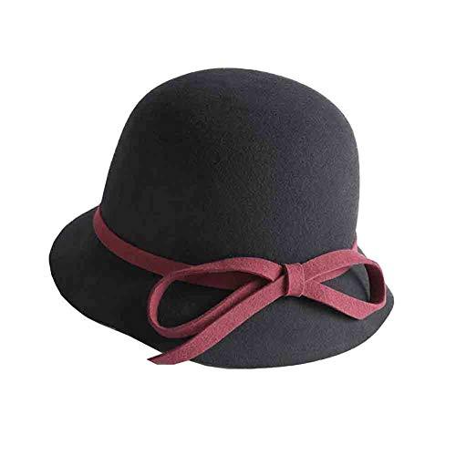 Damas Cloche Cabeza Gorra Black De Gorras red color Bombín Sombrero Ajustable Mujer,vintage Para Sunny Invierno Bombines,circunferencia Camello RYFqW