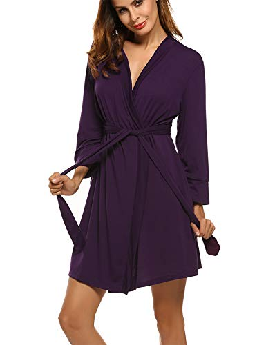 Hotouch BathrobesFor Women Short Lightweight Robe with Waist Tie and Hand Pockets Purple L