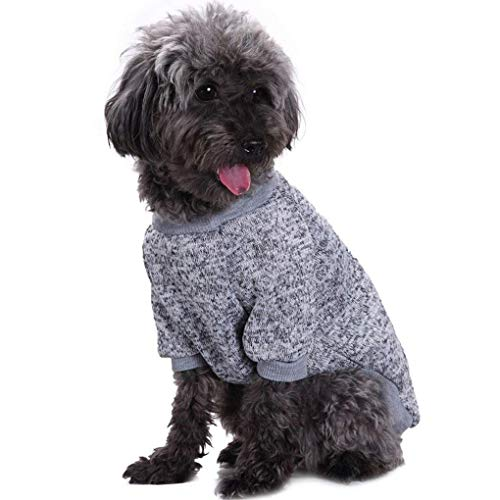 Bwealth Dog Clothes Soft Pet Apparel Thickening Fleece Shirt Warm Winter Knitwear Sweater for Small and Medium Pet (L, Grey)