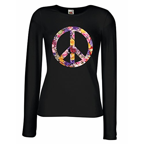 lepni.me T Shirt Women Peace Symbol, 1960s 1970s Hippy Hippie Festival, Peace Sign Flower Summer Hipster Swag (Large Black Multi Color)