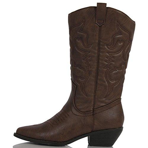 Soda Women's Reno Western Cowboy Pointed Toe Knee High Pull On Tabs Boots (8 B (M) US, Dark Tan) by Soda