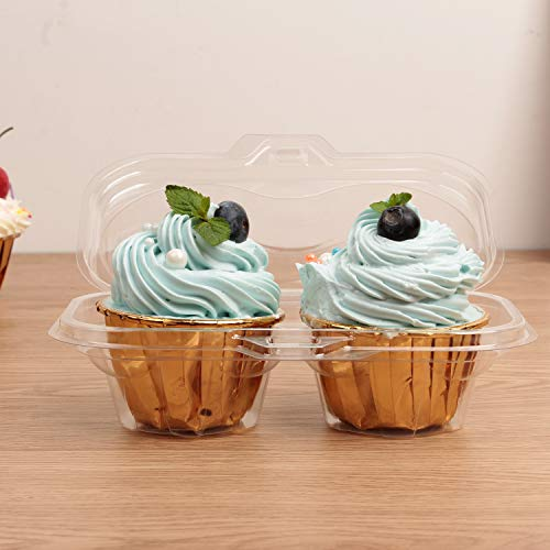 Autuneer Cupcake Boxes, 50 Packs 80package Cupcake Containers 2 Cavity 4 Cavity Cupcake Carrier Holder Stackable Deep Dome Clear Plastic Disposable Cake Storage …