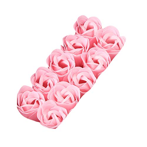 Ouniman 10 Pcs Floral Scented Bath Soap Rose Flower Petals with Two Heart Hot Stamping Gift Box Great Gift for Anniversary Birthday Wedding Mother's Day Valentine's Day - Pink